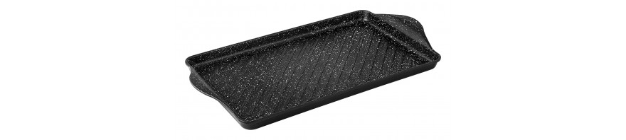 piastra grill cm. 58x30 in alluminio antiaderente marmotech  barazzoni